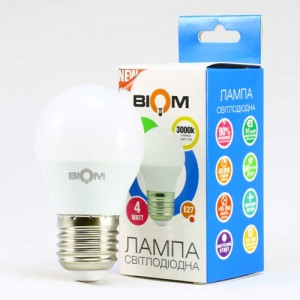 Светодиодная лампа Biom BT-543 G45 4W E27 3000К