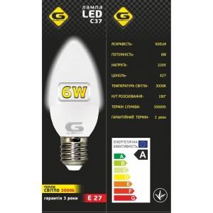 Лампа LED G-tech Свеча C37 6W E27 3000K