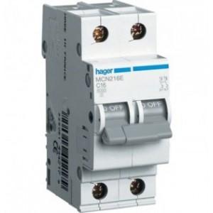 Автоматический выключатель 16А Hager, 2P, B, MBN216E