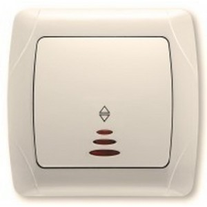 Проходной выключатель Viko с подсветкой (крем)