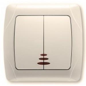 Выключатель двухклавишный Viko Carmen с подсветкой (крем)