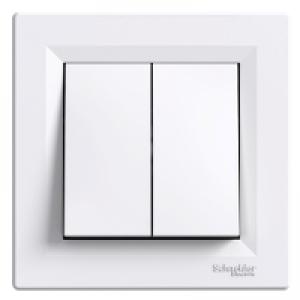 Выключатель проходной 2-клавишный Schneider-Electric Asfora белый