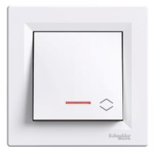 Выключатель проходной с подсветкой Schneider-Electric Asfora белый