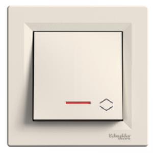 Выключатель проходной с подсветкой Schneider-Electric Asfora кремовый