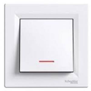 Выключатель 1-клавишный с подсветкой Schneider-Electric Asfora белый