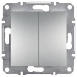 Выключатель 2-клавишный Schneider-Electric Asfora Plus алюминий