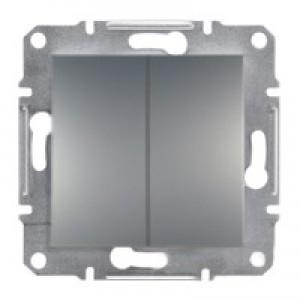 Выключатель 2-клавишный Schneider-Electric Asfora Plus сталь