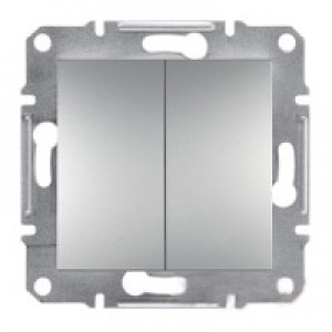Выключатель проходной 2-клавишный Schneider-Electric Asfora Plus алюминий