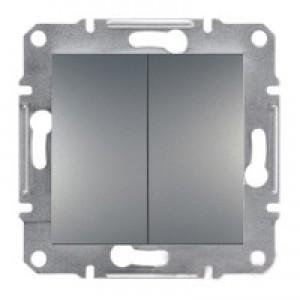 Выключатель проходной 2-клавишный Schneider-Electric Asfora Plus сталь