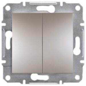 Выключатель проходной 2-клавишный Schneider-Electric Asfora Plus бронза