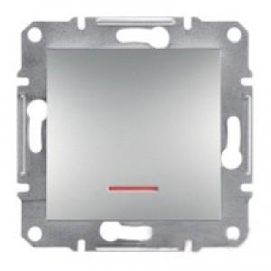 Выключатель 1-клавишный с подсветкой Schneider-Electric Asfora Plus алюминий