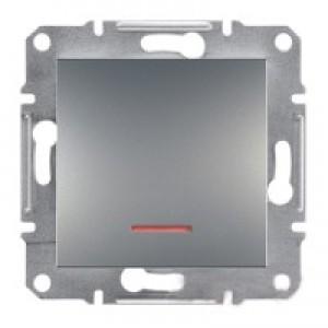 Выключатель 1-клавишный с подсветкой Schneider-Electric Asfora Plus сталь