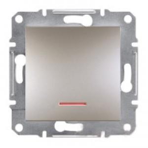Выключатель 1-клавишный с подсветкой Schneider-Electric Asfora Plus бронза