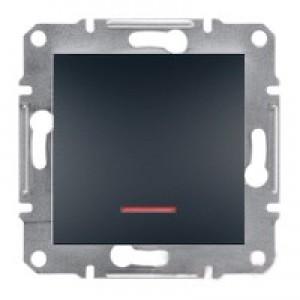 Выключатель 1-клавишный с подсветкой Schneider-Electric Asfora Plus антрацит